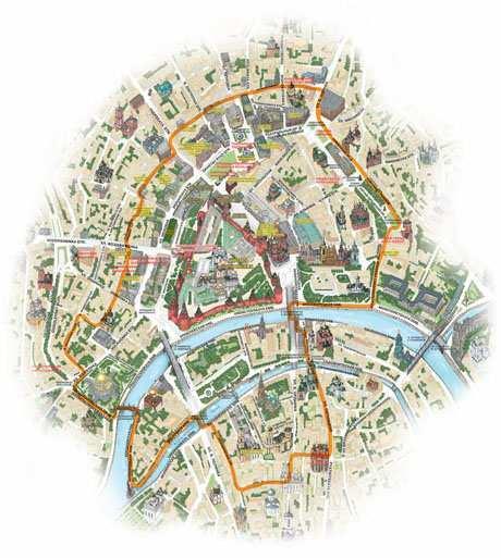 Карта центра Москвы.